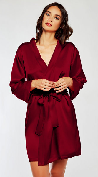 Classic Satin Robe in Burgundy