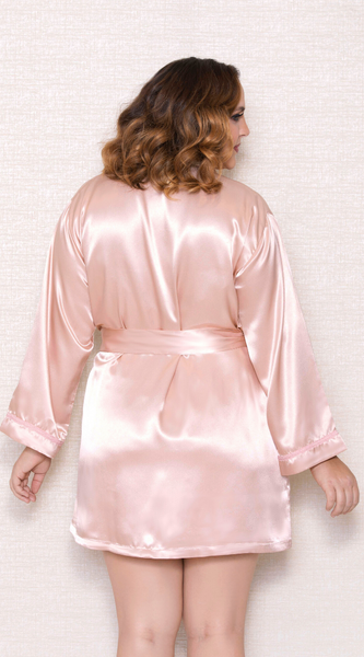 Classic Satin Robe in Pink