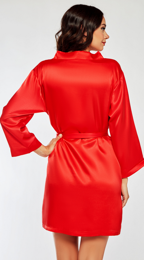 Classic Satin Robe in Red