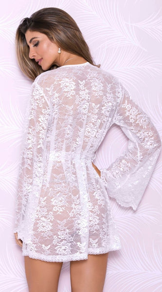 Butterfly Lace Robe in White