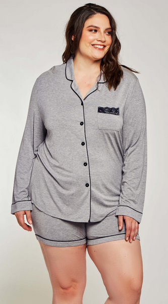PJ Party Button Down Set in Grey