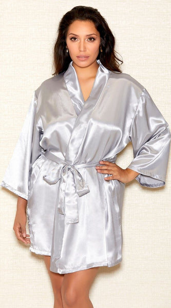 Basic Satin Robe in Grey