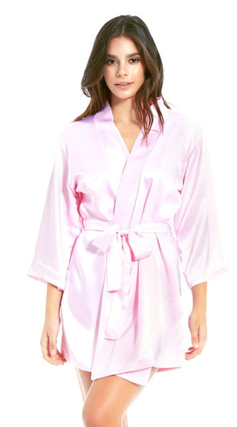 Basic Satin Robe in Pink