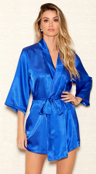 Basic Satin Robe in Royal Blue