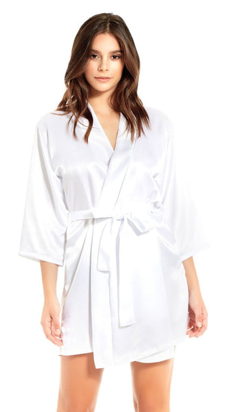 Basic Satin Robe in White