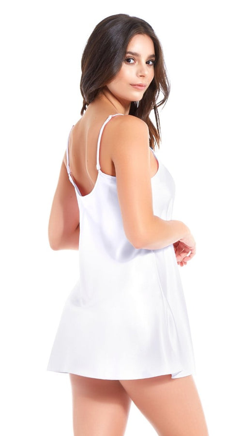 Classic Satin Chemise in Royal White