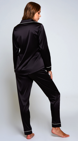 Grace Satin Pyjamas Set in Black