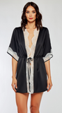 Eyelash Satin Robe in Black
