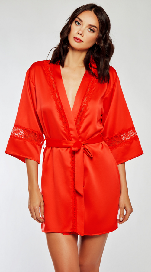 Lace Insert Robe in Red