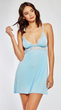 Effortless Lace Trim Chemise in Sky Blue