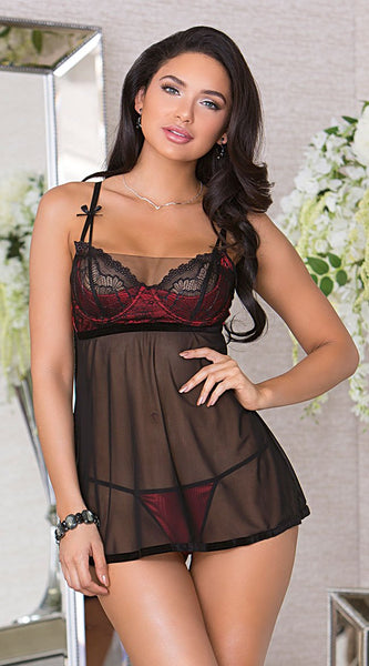 Teasing Sheer Babydoll Set in Red Black