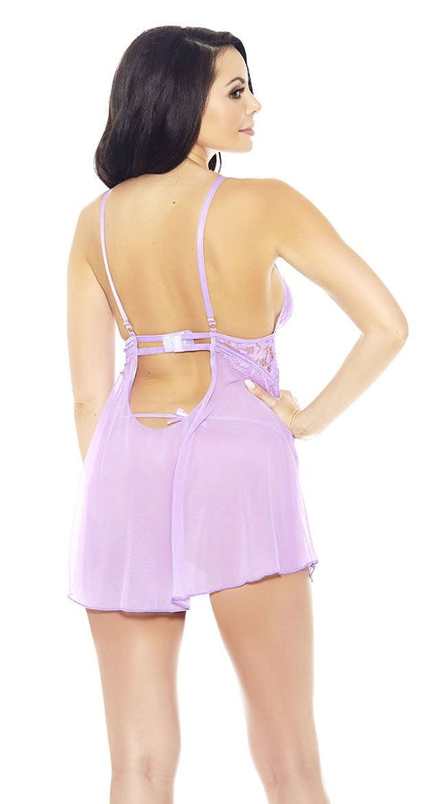 All Eyes on You Babydoll Set in Lilac