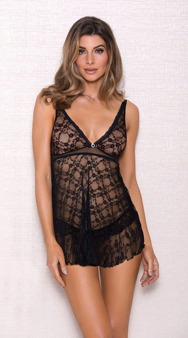 Lovely Pleated Lace Babydoll in Black