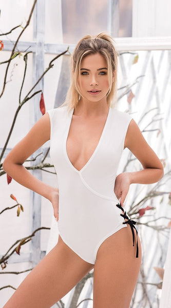 Soft Wrap Bodysuit in White