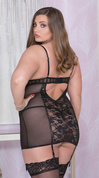 Lace Up Chemise in Black
