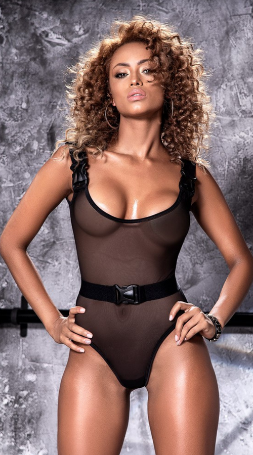 Striking Sheer Mesh Bodysuit with Clips