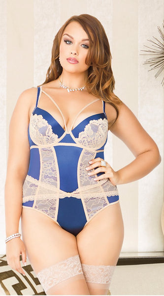 Victorian Lace Cincher Teddy in Navy