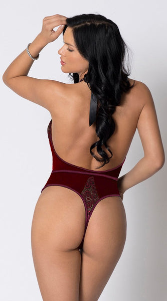 Deep V-neck Lace Teddy in Dark Red