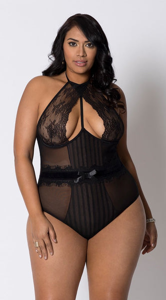 Arousing Striped Lace Teddy in Black