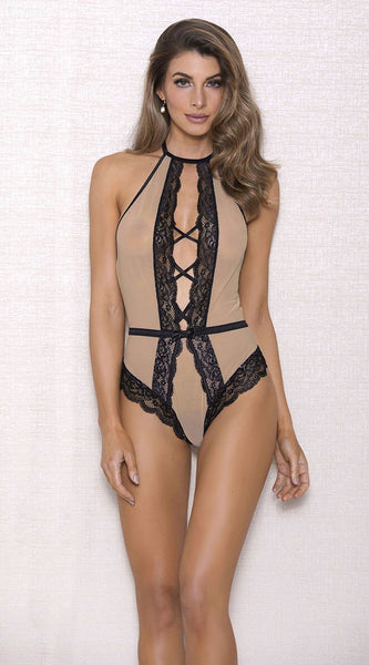 Sweetheart Lace Teddy in Nude Black