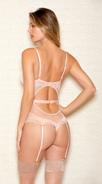 Cross Neck Sheer Lace Teddy in Champagne