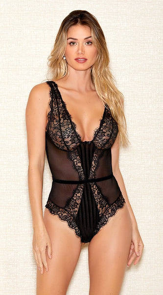 Striped Mesh Teddy in Black