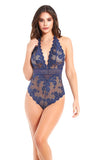 Elegant Lace & Mesh Teddy in Navy Blue