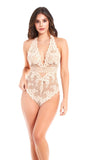 Elegant Lace & Mesh Teddy in Peach