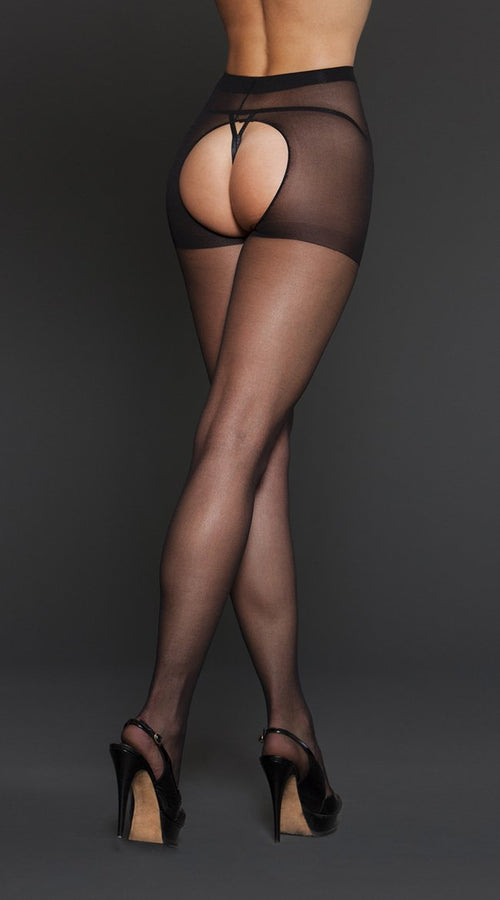 Sheer Crotchless Pantyhose in Black