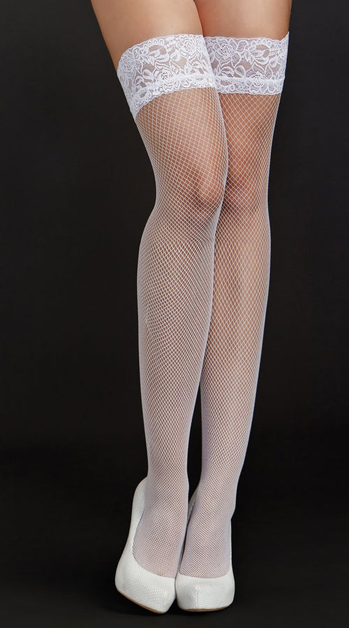 Fishnet Thigh Highs in White