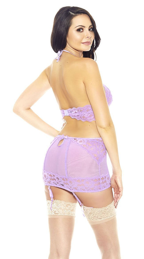 3 Pc Bra, Garter Skirt and Panty Set in Lilac