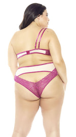 Asymmetrical Strap Bra Set in Magenta