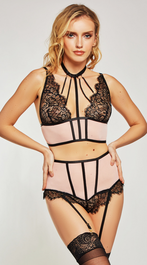 3PC Estrella Bra Set in Pink Black
