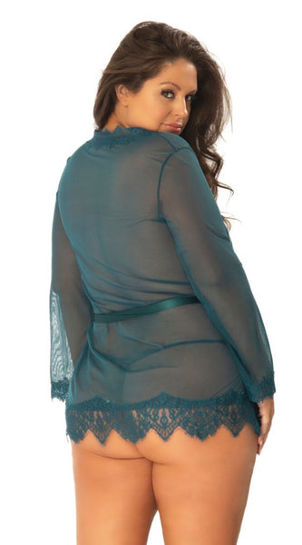 Provence Sheer Robe Set in Teal