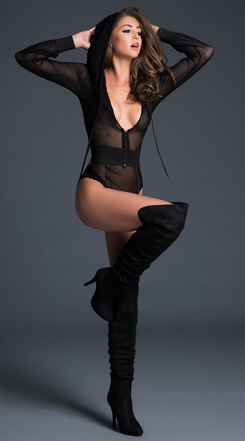 Fishnet Bodysuit with Hoodie in Black