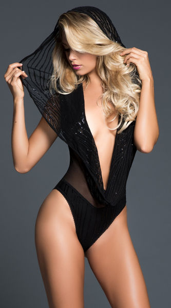 Dare to Imagine Sequins Bodysuit in Black