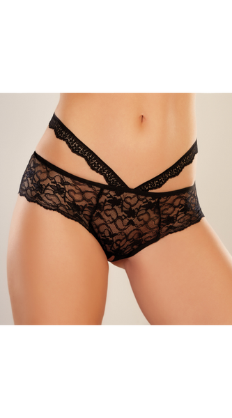 Heartbreaker Crotchless Panty in Black
