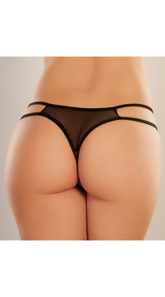 Sweet Honey Crotchless Panty in Black