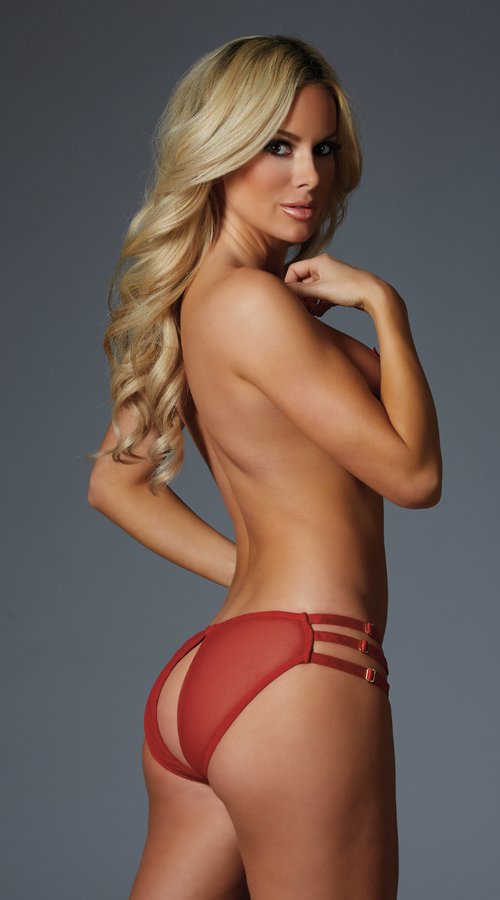 Open Back Tease Me Panty in Red