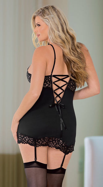Lace Bustier with Hose in Black