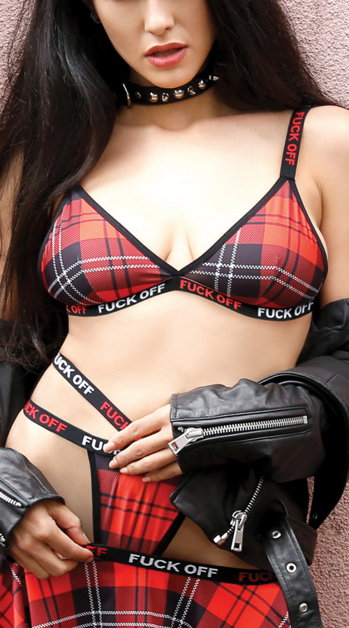 Fuck Off Bralette Set in Plaid