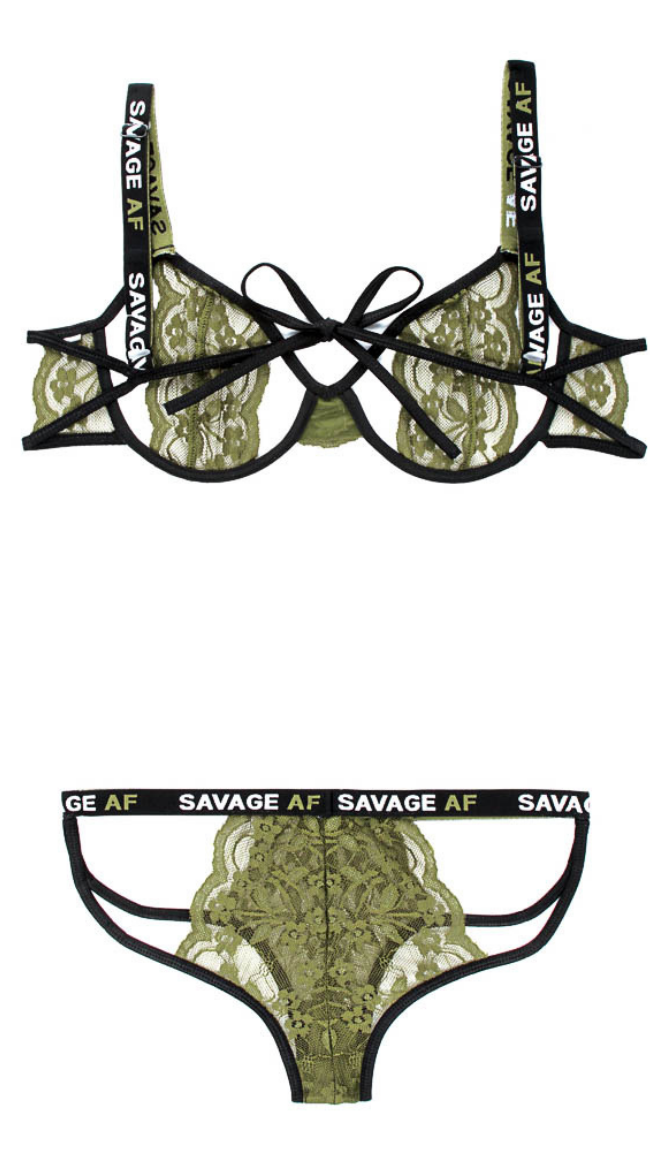 Savage AF Cutout Bra Set in Olive