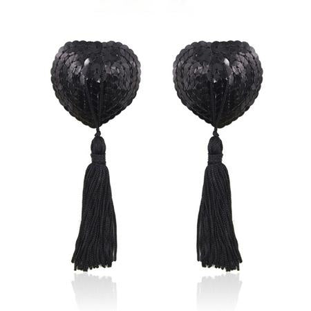 Sequin Heart Pasties with Tassels in Black