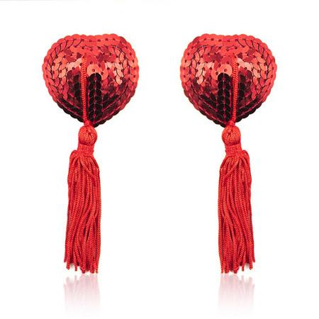 Sequin Heart Pasties with Tassels in Red