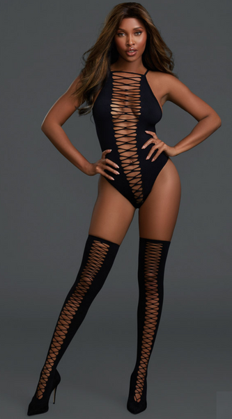 2PC Seamless Teddy in Black