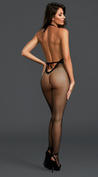 Plunging Fishnet Bodystocking