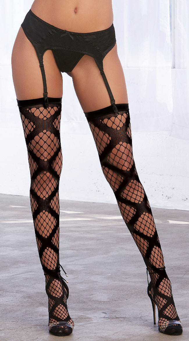 X Fishnet Thigh High