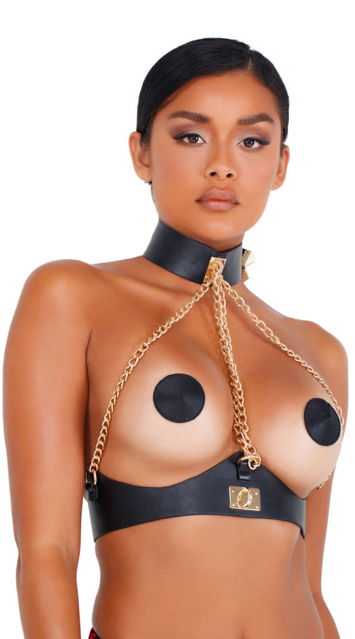 Devilish Collar and Pasties In Black