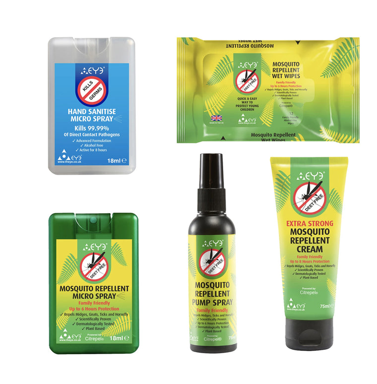 Mosquito Repellent Pump Spray, Cream, Wet Wipes, Micro Spray & Hand Sanitiser Micro Spray