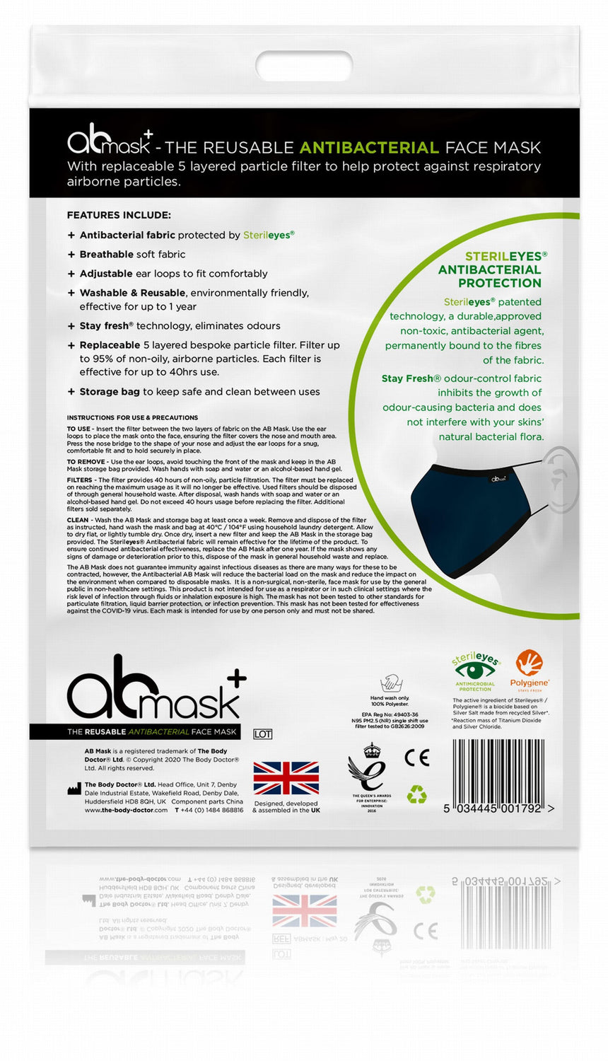AB MASK - The Reusable, Adjustable & Washable Antibacterial Face Mask